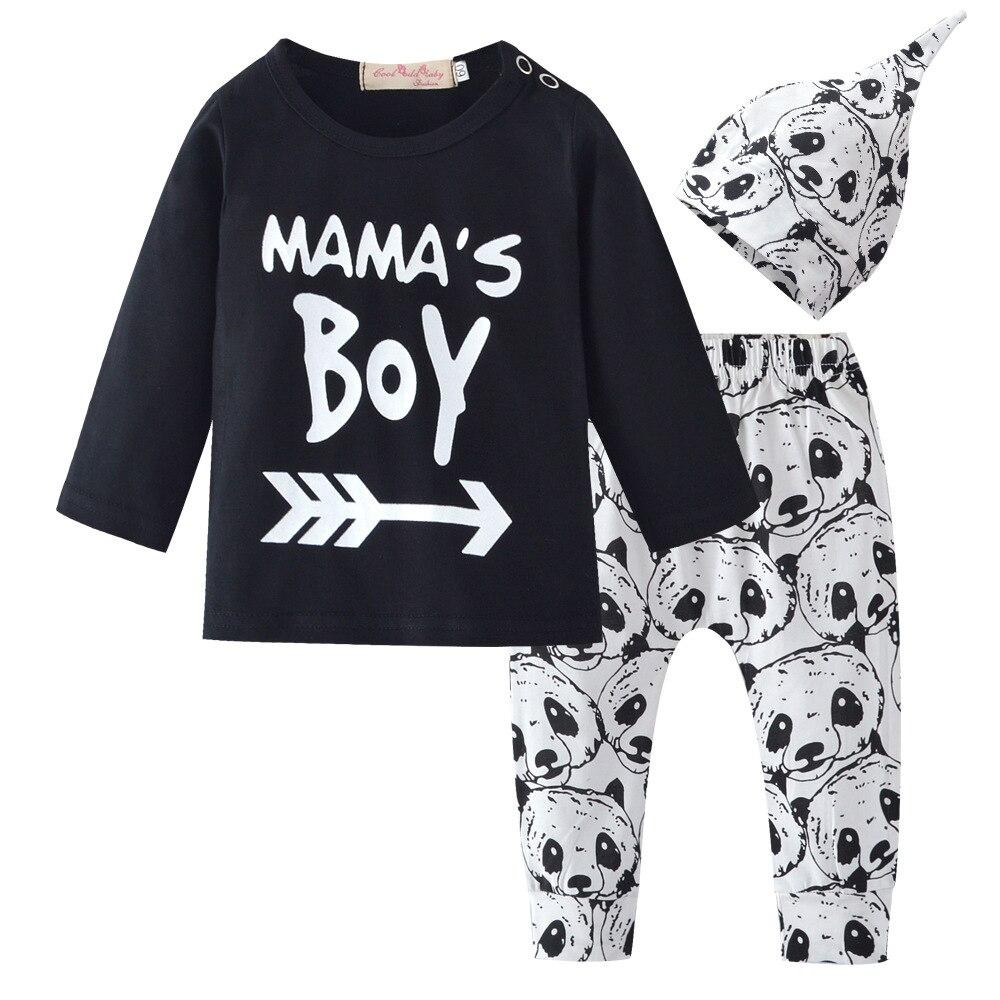 2018 baby boy letter MAMA'S BOY set panda pants, hat three-piece children's clothing
