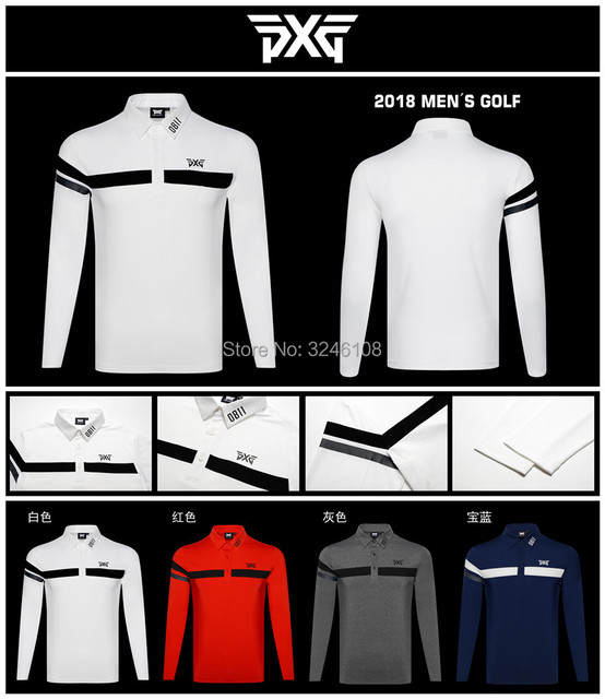 93bc178d PXG Men Golf shirts Autumn Long Sleeve Golf T Shirt Breathable Sports  Clothes Men'S Polo Shirts Tops Navy White Grey Brand Shirt