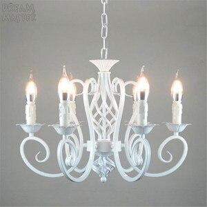 Image 1 - Biały żyrandol w stylu nordyckim wragh żelaza lustre lampa do salonu 220V 110V jadalnia sypialnia żyrandol Foyer