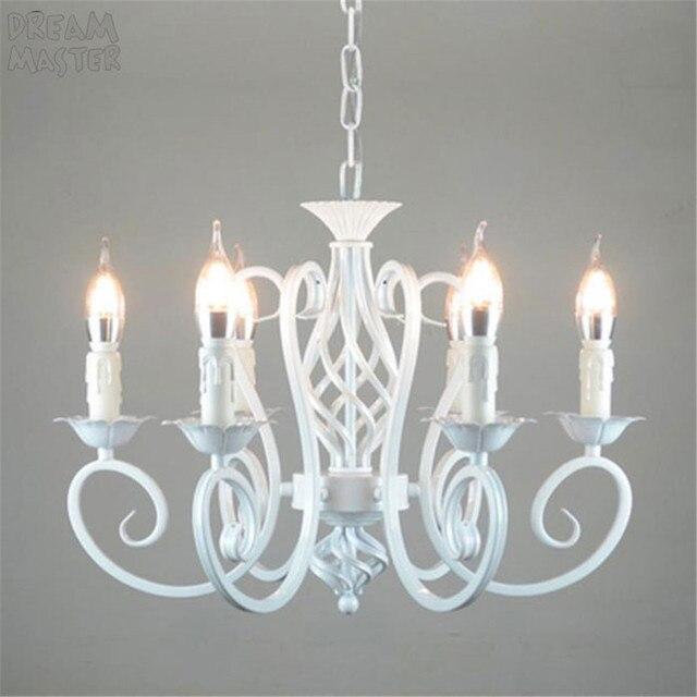 Biały żyrandol w stylu nordyckim wragh żelaza lustre lampa do salonu 220V 110V jadalnia sypialnia żyrandol Foyer