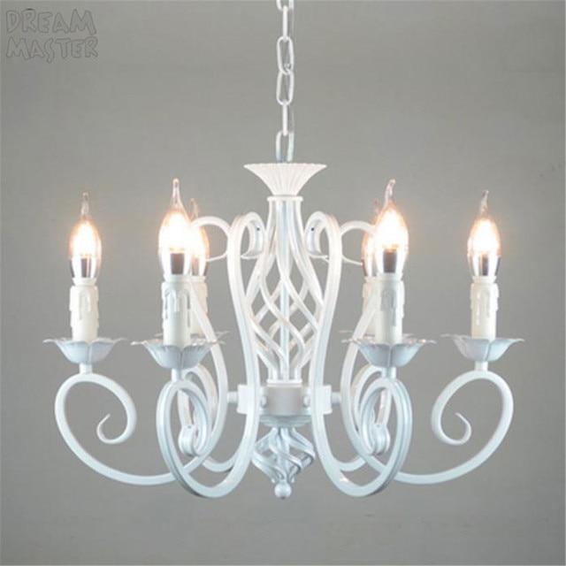 Bianco Nordic Lampadario Wrough Ferro lustre lampada Per Soggiorno 220V 110V sala da pranzo camera da letto Foyer Lampadario di Illuminazione