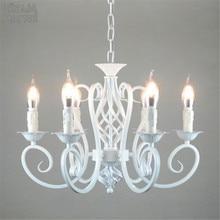 Weiß Nordic Kronleuchter Wrough Eisen lustre lampe Für Wohnzimmer 220V 110V esszimmer schlafzimmer Foyer Kronleuchter Beleuchtung