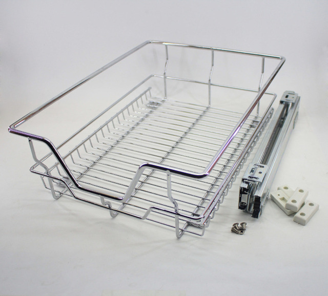 1 Pc Kitchen Cabinet Pull Out Wire Basket Rack Storage Shelf Sliding