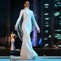 Dubai White Glitter Mermaid Evening Dress Long Crystals Pearls Moroccan Luxury Party Dresses 2017 Abiye Avondjurk vestido longo
