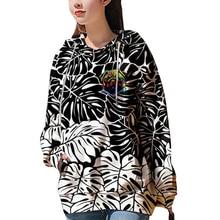 Streetwear Women Hoodies Sweatshirts 3D Printed Leaves Hooded Hoodies Women Clothes Long Sleeves Oversize Graphic Hoodies Casual цена 2017