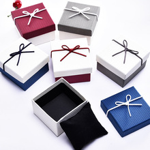 High Quality 6 Pack/Lot  Creative Box Jewelry Ribbon Bow Bracelet Watches Kraft Paper 9x8.5x5.5 cm Gift Cases with Pollow