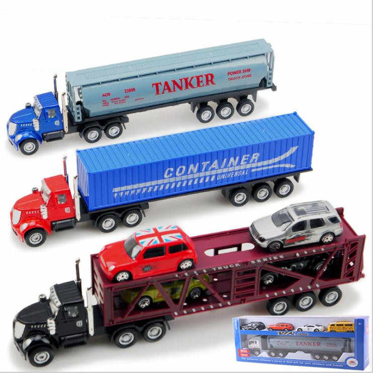High simitation trailer container truck model,1:36 scale alloy model truck with 4 trolley, toy vehicle, free shipping
