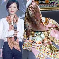 New Silk 110x110cm square luxury scarf high quality women fashion 2018 blanket scarf silk scarf silk scarf dropshipping