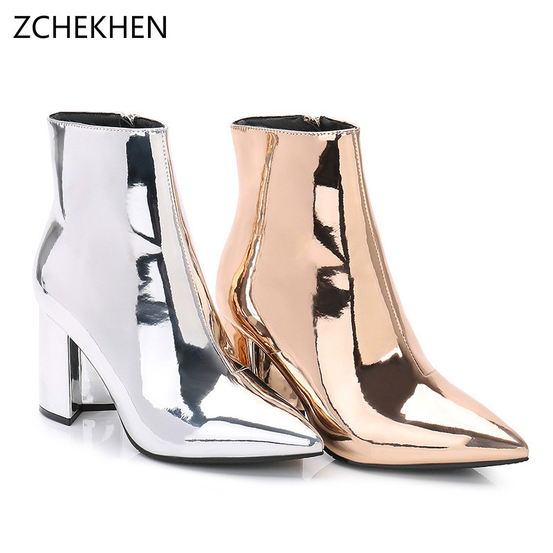 Luxury Design Fashion sliver gold Ankle Sock Boots Chunky High Heels Women Autumn Sexy martin Booties Pointed Toe Women Pump