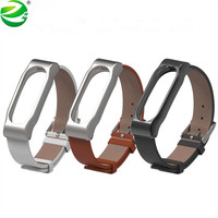 ZycBeautiful Genuine Xiaomi Mi Band 2 Strap Leather Strap With Metal Frame Smart Bracelet Xiaomi Strap