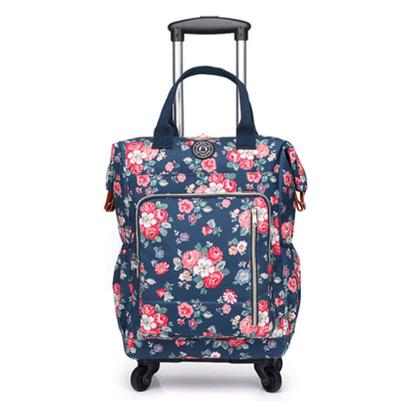 Women Travel bag travel Backpack with wheel Trolley Bag/case Rolling luggage trolley portable Suitcase waterproof Oxford handbagWomen Travel bag travel Backpack with wheel Trolley Bag/case Rolling luggage trolley portable Suitcase waterproof Oxford handbag