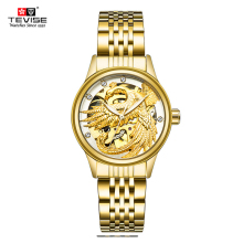 TEVISE Women Luxury Automatic Mechanical Stainless Steel Gol