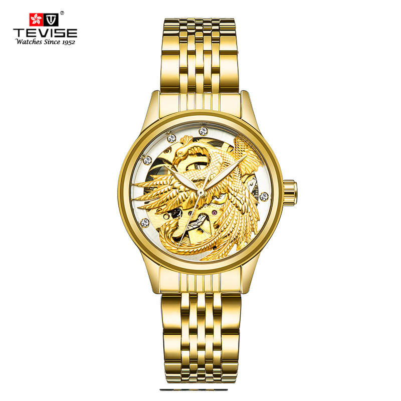 TEVISE Women Luxury Automatic Mechanical Stainless Steel Gold Eagle Watches Skeleton Self Wind Lady Wristwatches with box 9006 k colouring women ladies automatic self wind watch hollow skeleton mechanical wristwatch for gift box