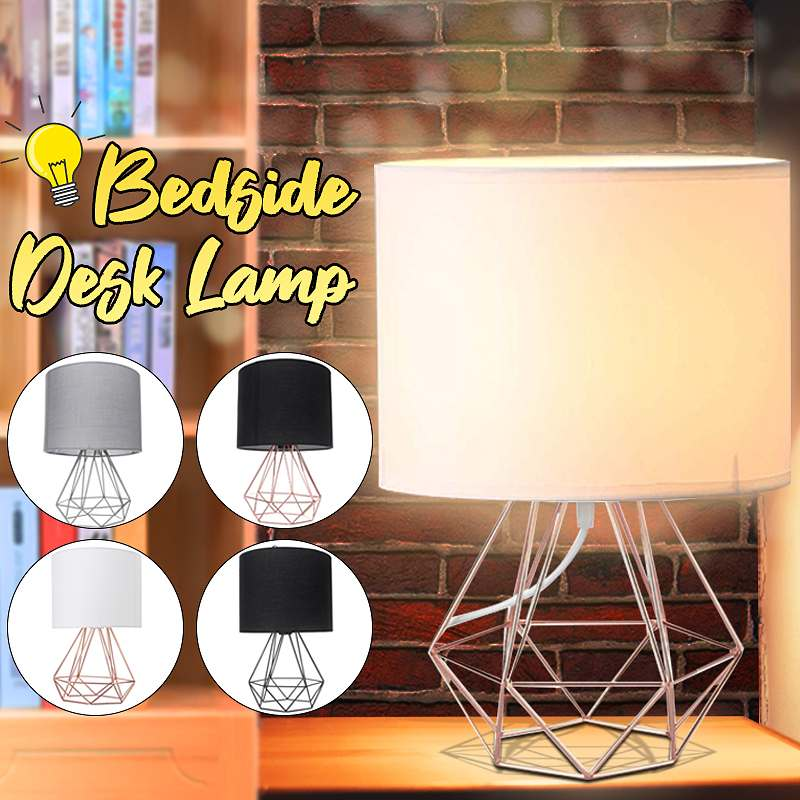 Decorative Retro Geometric Table Lamp Drum Shade Bedside Home Lighting Light For Bedroom Living Study Room Lamp