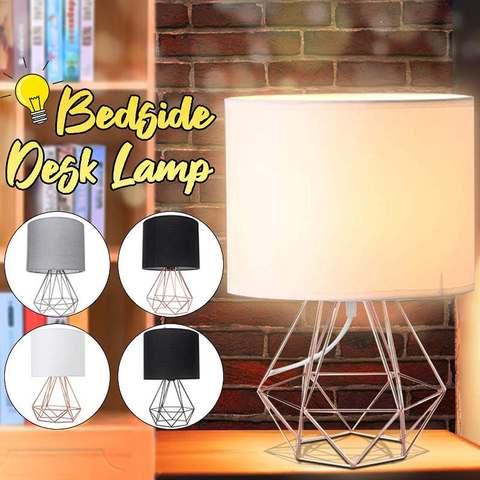 decorativo retro geometrico lampada de mesa tambor sombra cabeceira casa iluminacao luz para o quarto