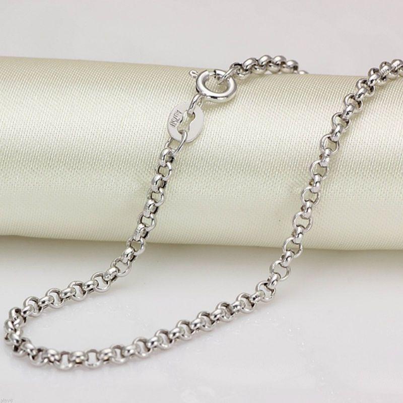 Fine Pure Au750 18 K or blanc chaîne femmes hommes câble Rolo Link collier 24 pouces