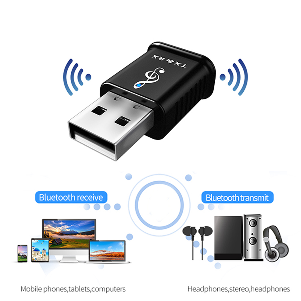 2 in 1 Bluetooth 5.0 Transmitter Receiver Portable USB Adapter Mini 3.5mm AUX Wireless Stereo Audio Adapter For Car Music For TV