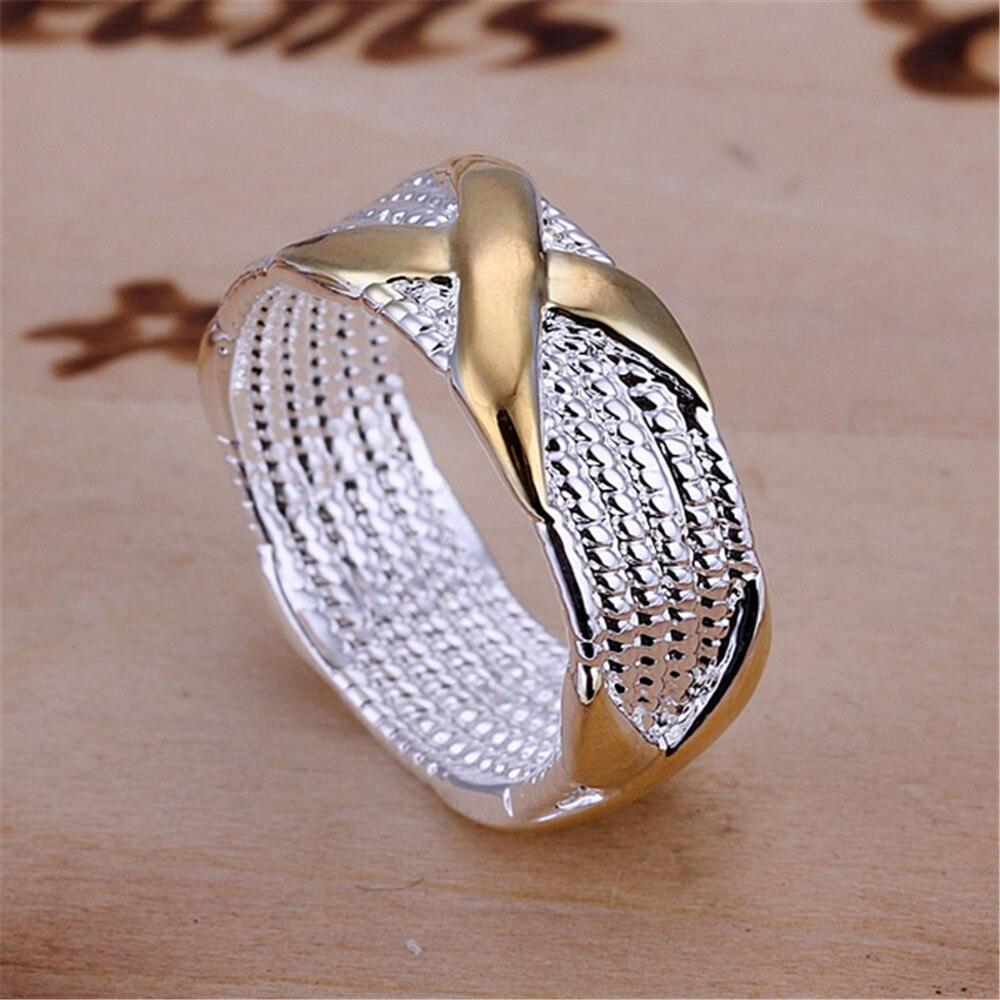 Toptan Fiyat Gümüş Kaplama erkek Yüzük Altın Renk Ile X çapraz - Kostüm mücevherat - Fotoğraf 5