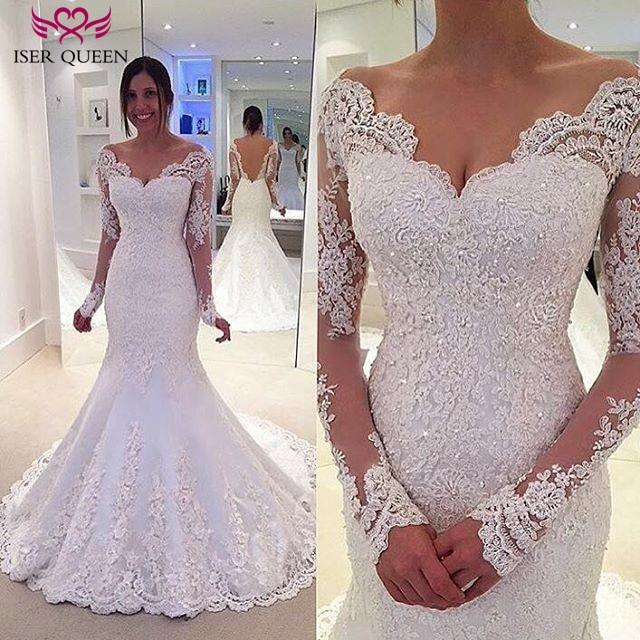Long Sleeve Beading White Wedding Dresses Illusion Back Lace Appliques Vintage Mermaid Wedding Dress  Bridal Dresses W0201
