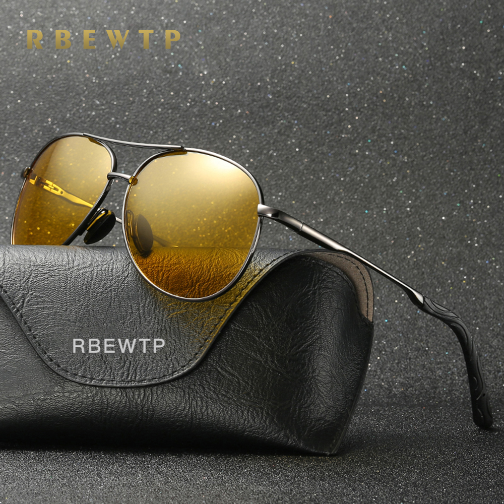 RBEWTP Retro Vintage Men's Night Vision Sunglasses Polarized Driving Sun Glasses Oculos Male Eyewear Accessories For Men/women