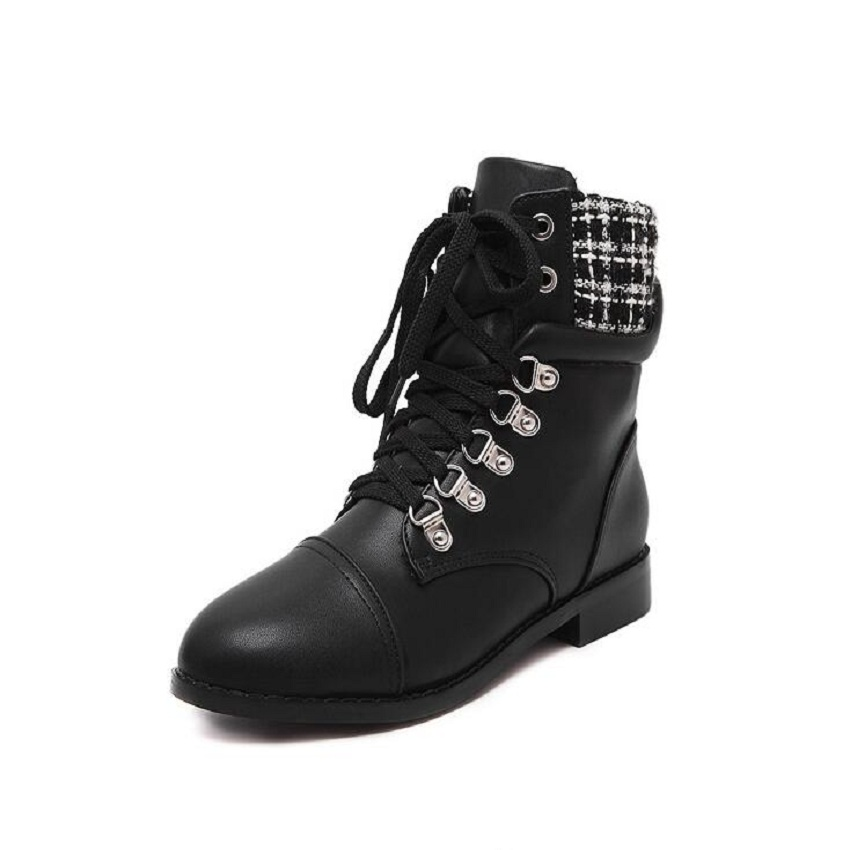 ФОТО women ankle boots 2016 new arrive women's fashion winter flats rivets genuine leather lace-up black martin boots