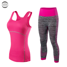 Quick Dry sportswear Gym Leggings Female T-shirt Costume Fitness Tights Sport Suit