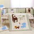 4 Pieces Baby bedding set light green Embroidery elephant giraffe lione Baby crib cots set 100% cotton Quilt Bumper bed Skirt