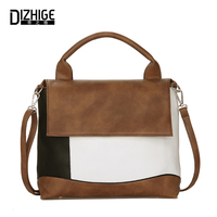 DIZHIGE Brand Fashion Patchwork Women Handbags Tote High Quality Crossbody Bags For Women PU Leather Ladies