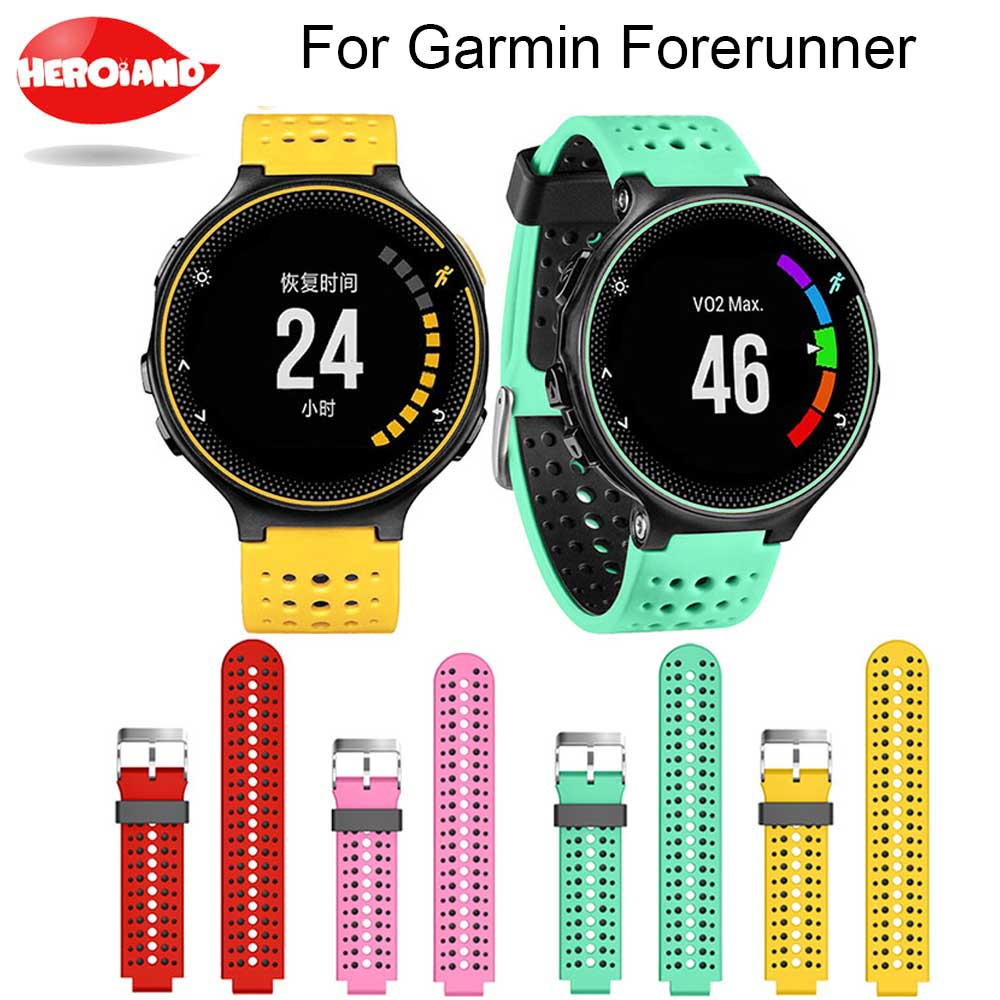 Two colors 2 in1 Watchband Soft Silicone Replacement Wrist Watch Band bracelet strap For Garmin Forerunner 220/230/235/620/630 все цены