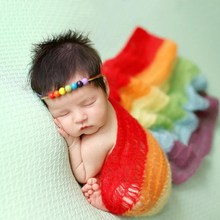 New Rainbow Blanket For Newborn Photography Props Infant Baby Mohair Wraps Photographie Accessories Stretch Photo Shooting Wraps