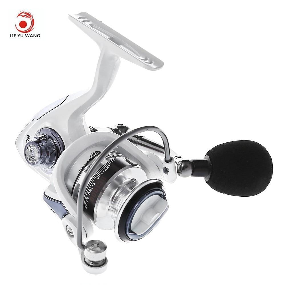 Envío libre LIEYUWANG 13 + 1BB 5,1: 1 Spinning pesca carrete con mango intercambiable plegable automático para la línea de fundición