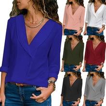 S-2XL women autumn winter spring chiffon blouse v neck long sleeve women shirts pure color office work shirt pure color frilled chiffon blouse