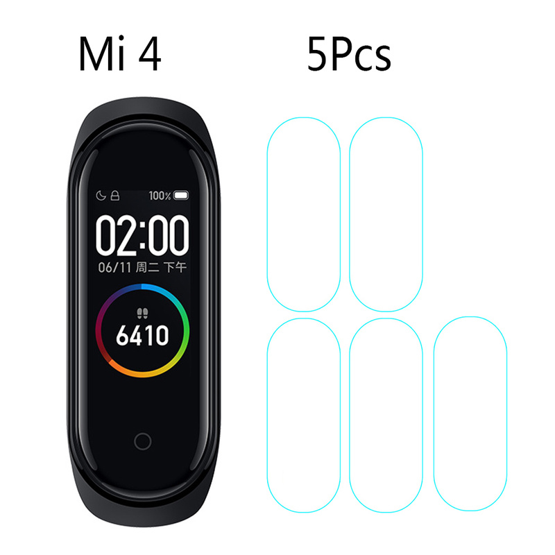5pcs For Mi Band 4 For Xiaomi Band 4 3D Tempered Film Scratchproof Transparent Sreen Protective Film For Xiaomi Smart Bracelet 4