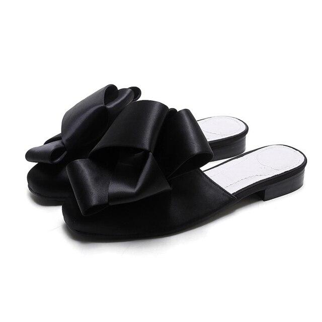 Лук Плоским Мул В Черного Атласа женщин мода тапочки