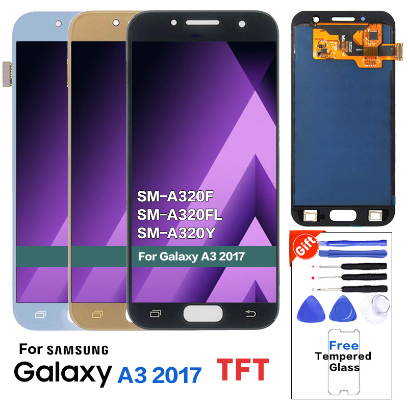 For <font><b>Samsung</b></font> Galaxy A3 2017 <font><b>A320</b></font> SM-A320F <font><b>LCD</b></font> Display Touch Screen Digitizer Assembly <font><b>LCD</b></font> with brightness adjust 100% Tested image