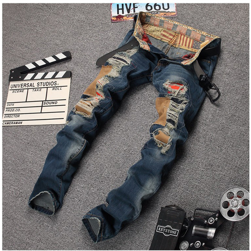 Straight Slim Mens Patchwork Hole Jeans Ripped Skinny Jeans Pants Fashion Brand Casual Denim Blue Jeans Wear Plus Size 30-38 trendy long layered side bang human hair shaggy natural straight siv hair wig for women