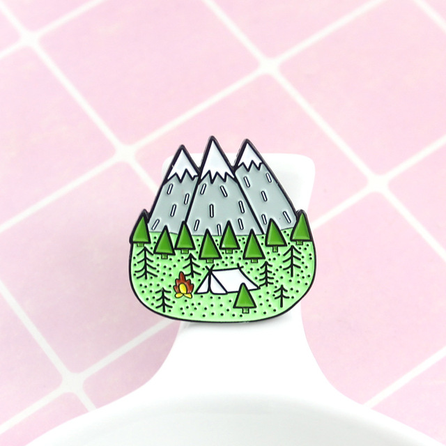 Mountains Wood Jungle Brooch Peak Nature Forest Camping Adventure Amateur Enamel Pin Badge Hat bag accessories fashion jewelry