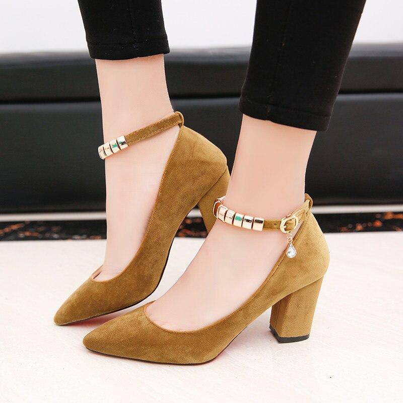 2017 Summer Women Ankle Strap Pumps Metal chains Strap High Heels Shoes  Woman Dress Shoes Ladies 9d1ec3ed2a9f