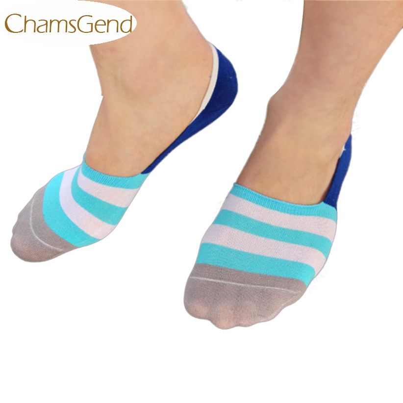 Newly Design 2015 Candy Color Stripes Antiskid Ship Socks Invisible Casual Cotton Men Socks June15 Drop Shipping