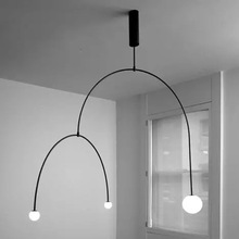 Post-modern Golden / Black Plating Wrought Iron Pipe Pendant Light with E27 LED Frosted Glass Shade Hanging for Living Room