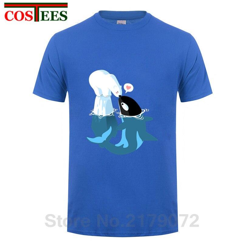 Schöne dolphin kuss polar bär t shirt männer tier digitale gedruckt friedlich mörder whale liebe bär t-shirt homme Tops hipster t
