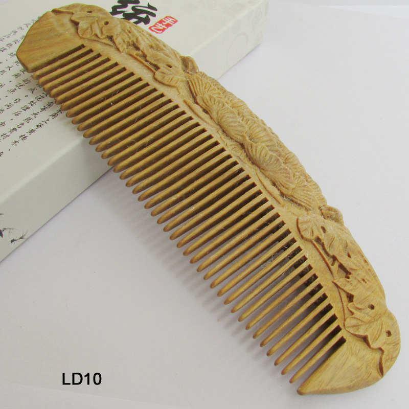 C58 natural fragrance green sandalwood comb anti-static hair care wood comb lettering цена