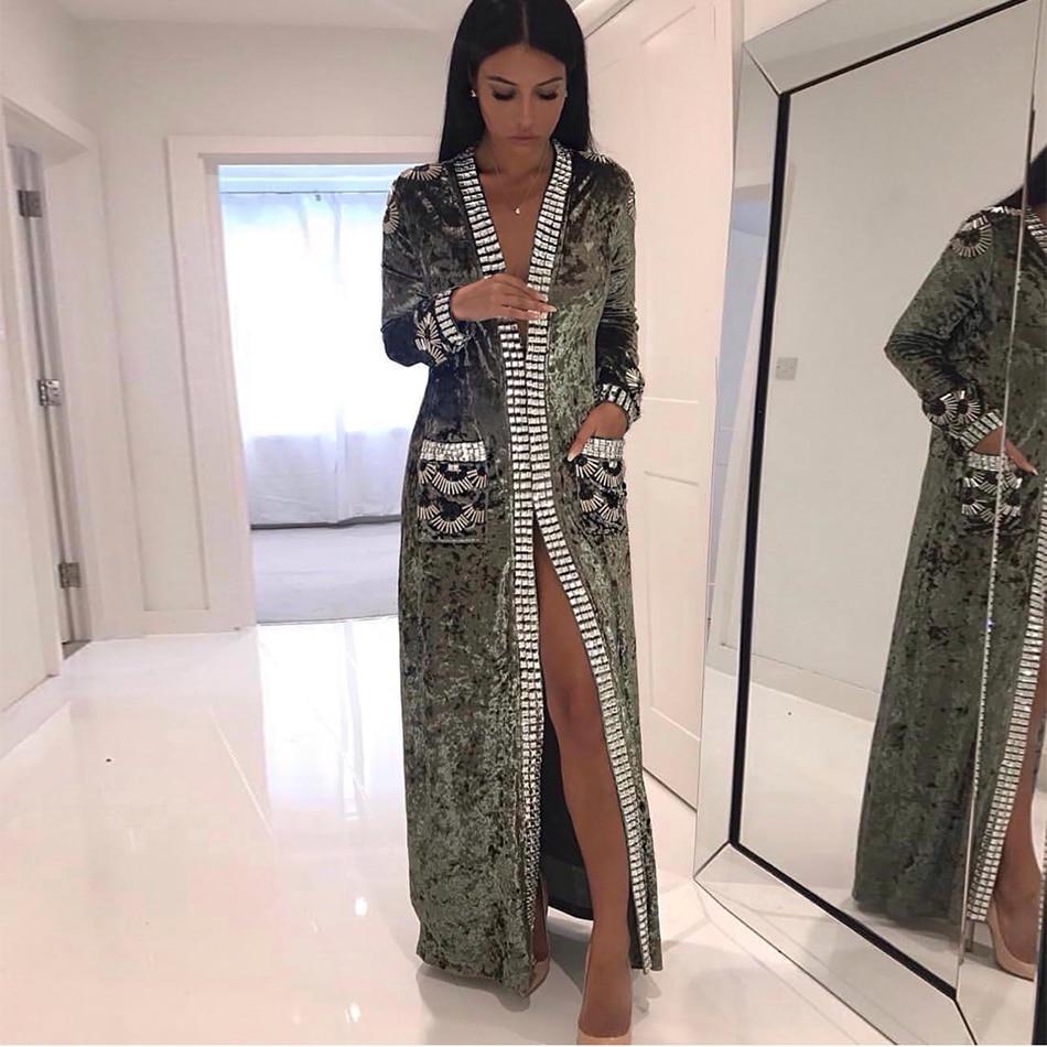 2018 Newest Women Coats Spring Celebrity Party Long Sleeve Deep V-Neck Velvet Diamonds Beading Sexy Elegant Women Fashion Coat