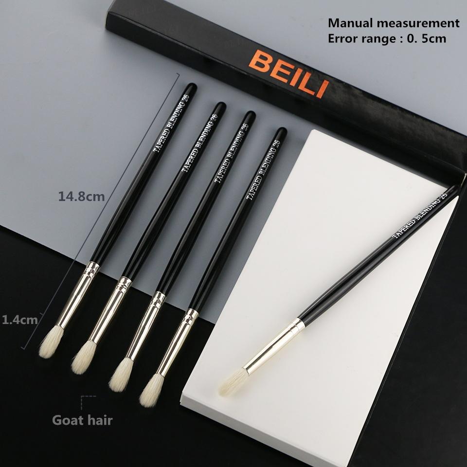 BEILI 1 Piece Goat Hair Precise blending Eye shadow Detailed small shade Single Makeup Brushes Black handle Silver ferrule 8