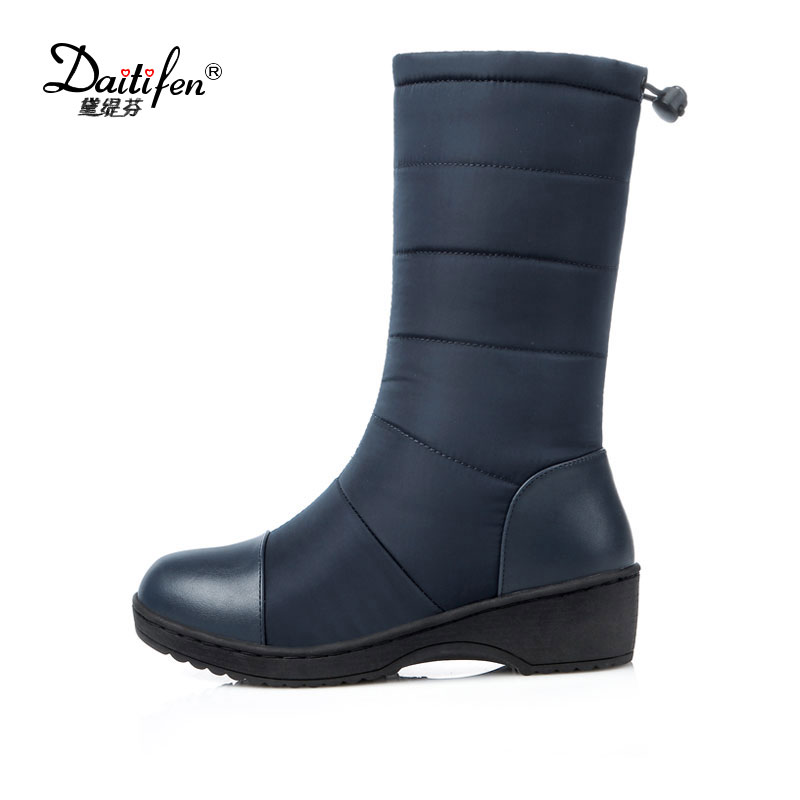 Daitifen Fashion Waterproof Snow Boots Women's Mid Calf Boots Flat Winter Botas Mujer Platform Fur Shoes Woman Size 35-54 2016 rhinestone sheepskin women snow boots with fur flat platform ankle winter boots ladies australia boots bottine femme botas
