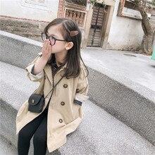 Новое поступление года, хлопковая куртка в Корейском стиле однотонная длинная универсальная ветровка для маленьких мальчиков и девочек, E0316
