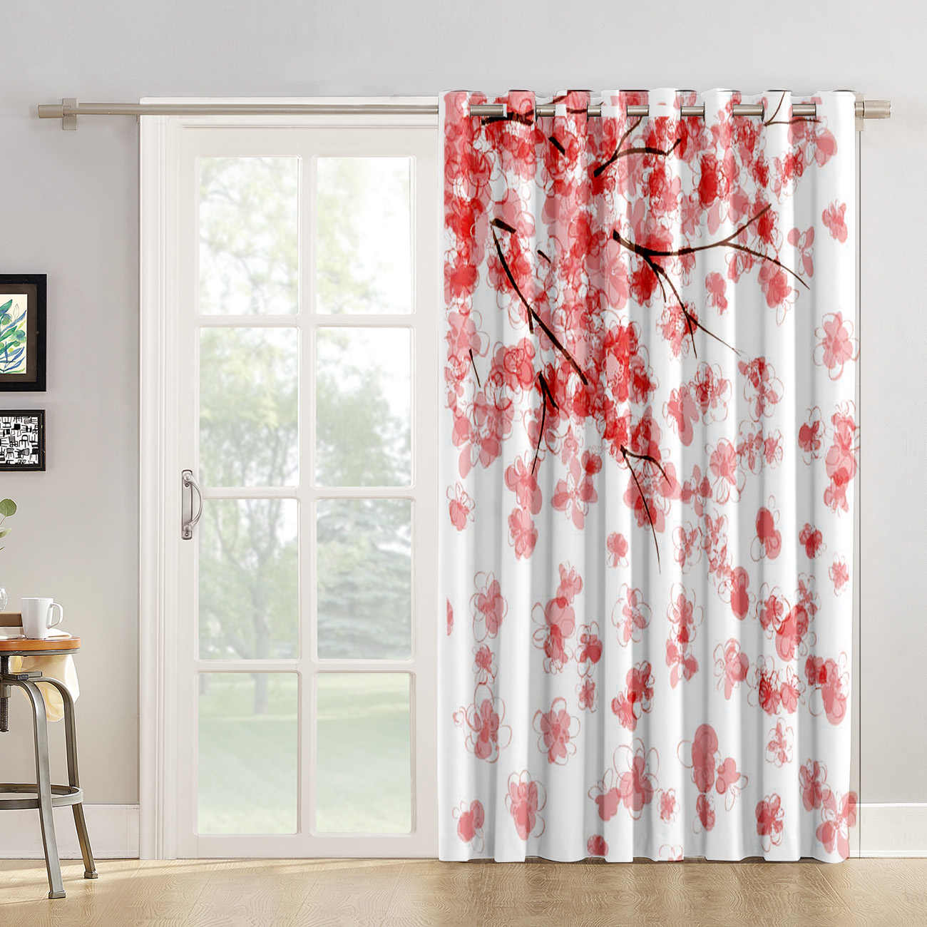 Pink Sakura Cherry Blossoms Living Room Curtains Blackout Kitchen Indoor  Swag Curtain Panels With Grommets Curtains And Drapes