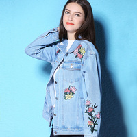 2017 new female models flower bird embroidery multi-pocket Vintage classic spring and autumn coat women's denim jacket NW17C1289