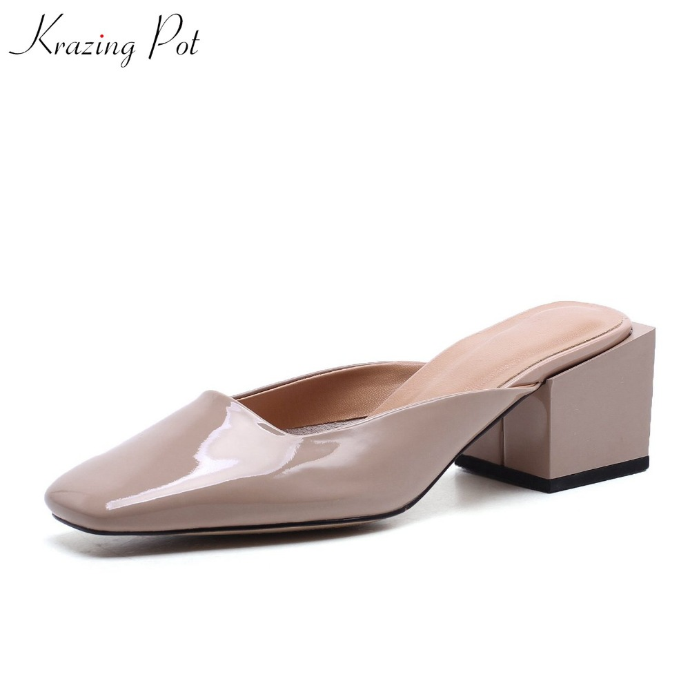Krazing Pot New Full grain leather shoes women fashion brand slingback pumps retro square toe high heels simple style shoes L55 krazing pot 2018 cow leather simple design breathable high heels hollow women pumps round toe brown white color brand shoes l92