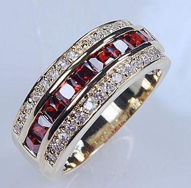 Victoria Wieck Jewellery Men s Garnet Diamonique CZ yellow Gold Filled Wedding band Ring size 9